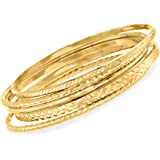 Ross-Simons 18kt Gold Over Sterling Jewelry Set: 5 Textured Bangle Bracelets For Women