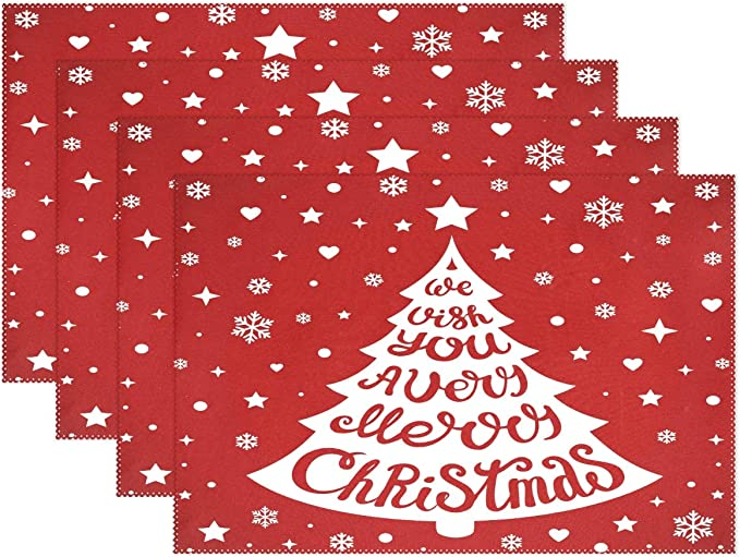 Amazon Com Wamika Merry Christmas Tree Heart Placemats Xmas Snowflakes Stars Table Mats Non Slip Washable Heat Resistant Place Mats Kitchen Dining Decor Tray Mat 12 X 18 Set Of 1 Home Kitchen