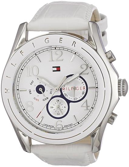 Tommy Hilfiger Watches 1781052 - Reloj de mujer de cuarzo, correa de piel, color blanco: Tommy Hilfiger: Amazon.es: Relojes