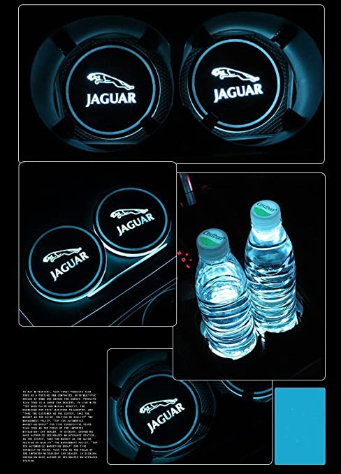 Cup Holders JSAMZ Car Logo LED Cup Pad led Cup Coaster USB Charging Mat Luminescent Cup Pad LED Mat Interior Atmosphere Lamp Decoration Light Cadillac
