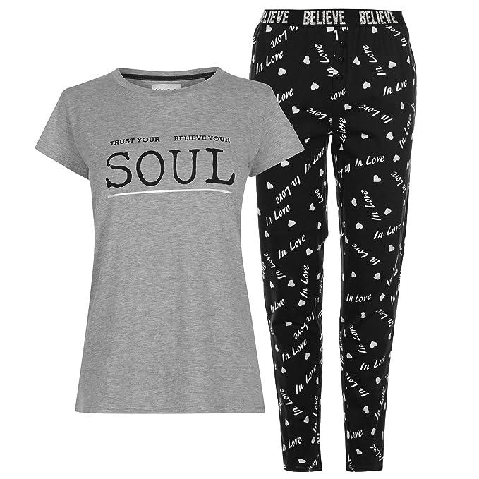 MISO Mujer Conjunto Pijama Camiseta Y Pantalones Estampados Gris/Negro M (EU 40/
