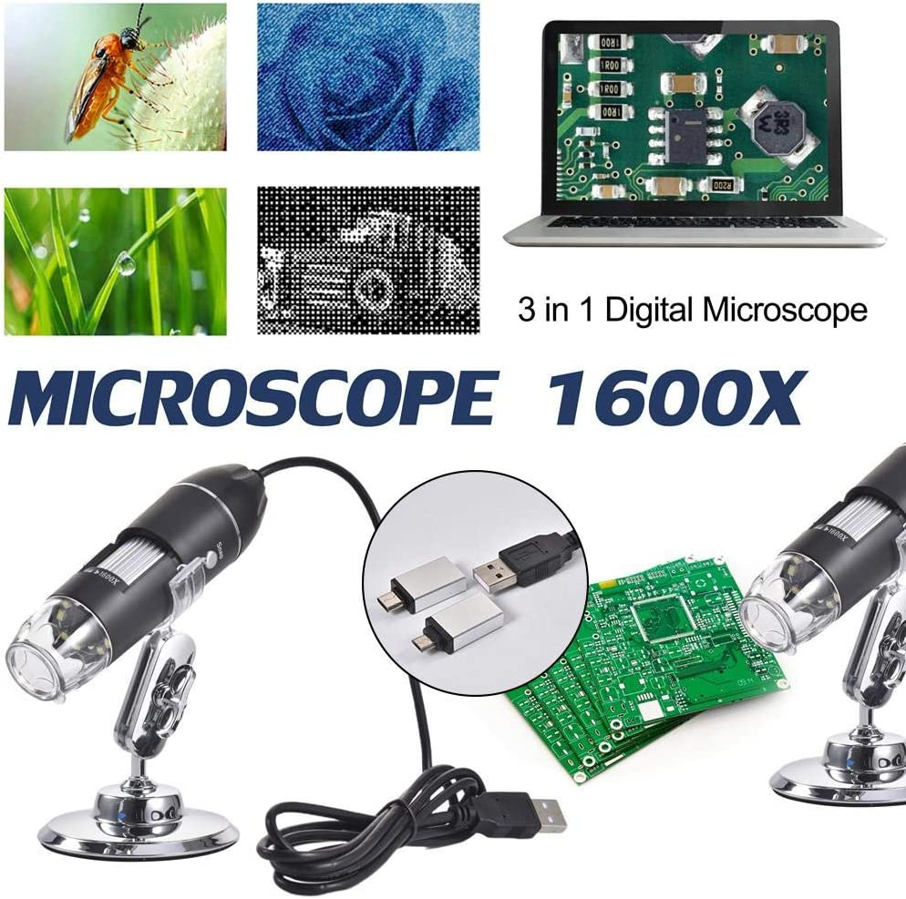 rowna Microscope 3 in 1 Digital Microscope 1600X Portable Two Adapters Support Windows Android Phones Magnifier