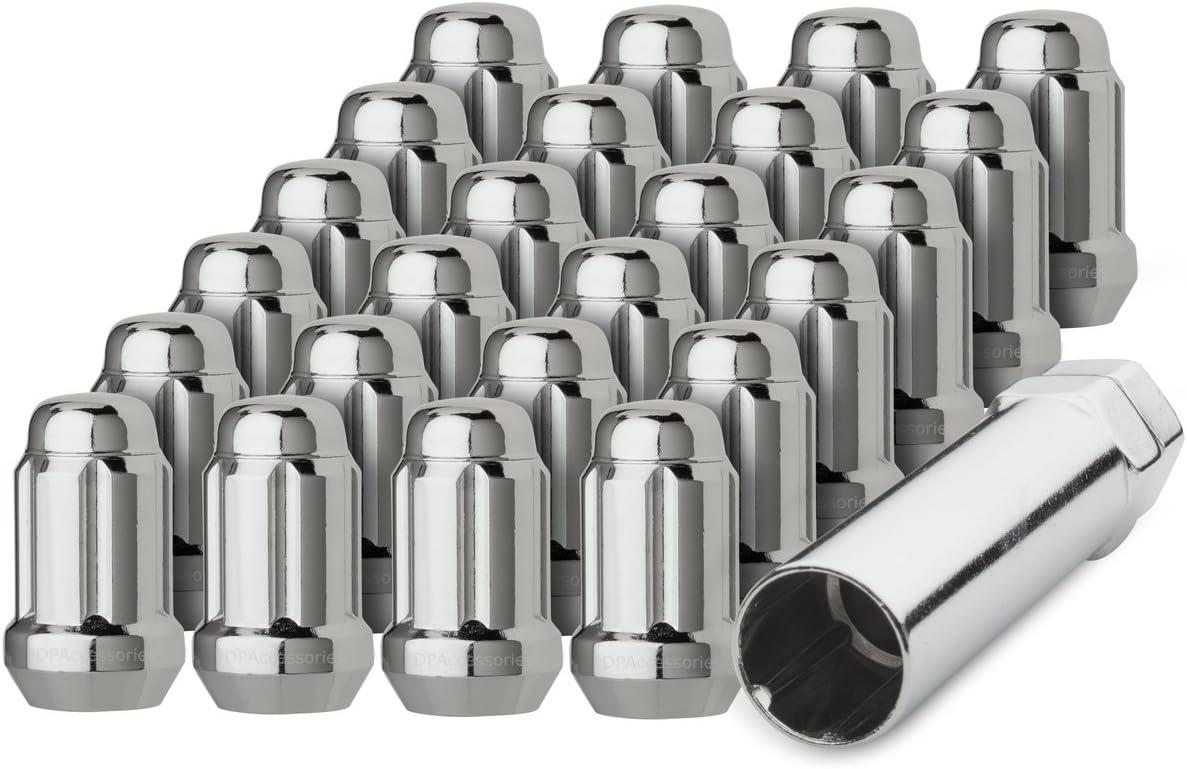 20 Chrome 7//16-20 Closed End Spline Tuner Lug Nuts for Aftermarket Wheels