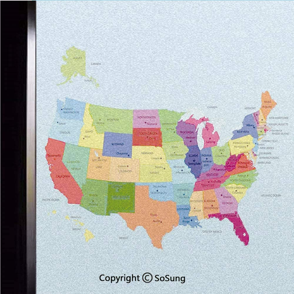 18x18 inch Window Privacy Film,Educational Map of America USA with States and Capitals City California Texas New York Printed Art Decorative Non-Adhesive Static Cling Frosted Window Film,Window Sticke