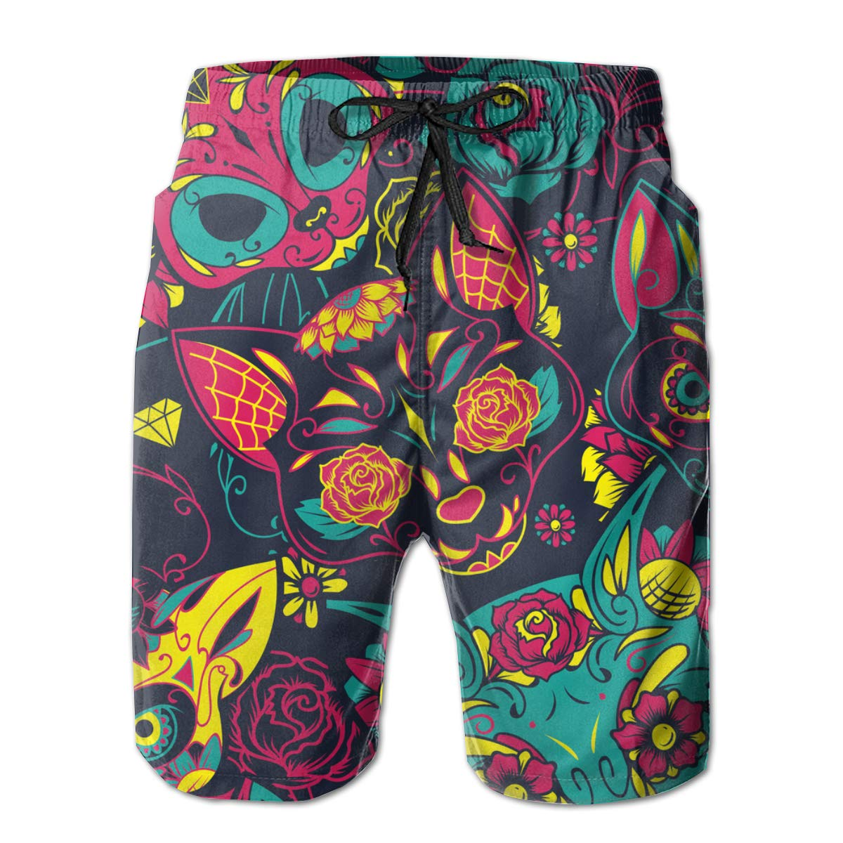 Colorful Sugar Cat Skull Mens Beach Shorts Breathable Surfing Trunks with 3 Pockets