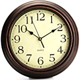 Ardisle 40cm Brown Wall Clock Bed Room Home Large Kitchen Vintage Style Shabby Chic 12-Inch Round Classic Clock Retro Ticking Quartz Decorative Wall Clock Kitchen House Farmhouse Wooden Effect Classic Hanging Dial Living Room