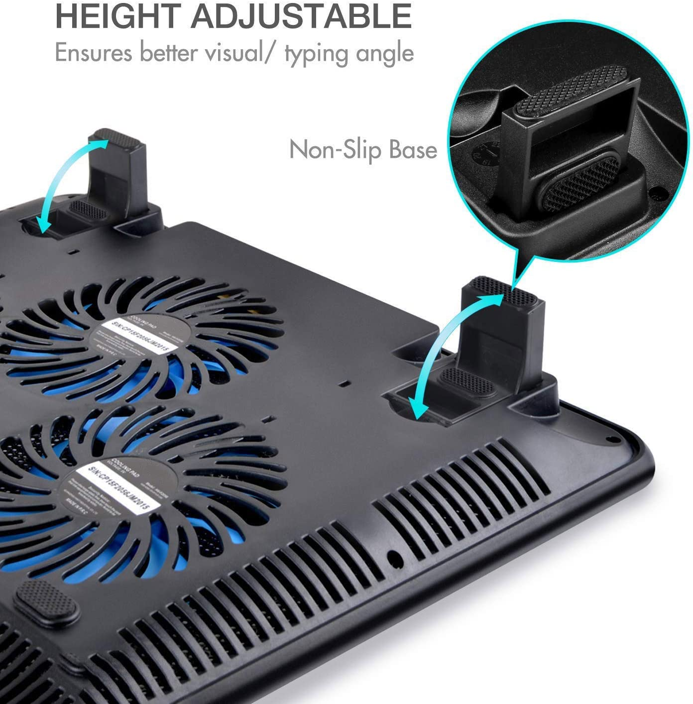 ZOUQILAI Laptop Cooling Pad 12-17 Laptop Cooler Fan Notebook Cooling Pad Base Bracket with 3 Fans 2 USB Blue LED Lighting Black+Blue