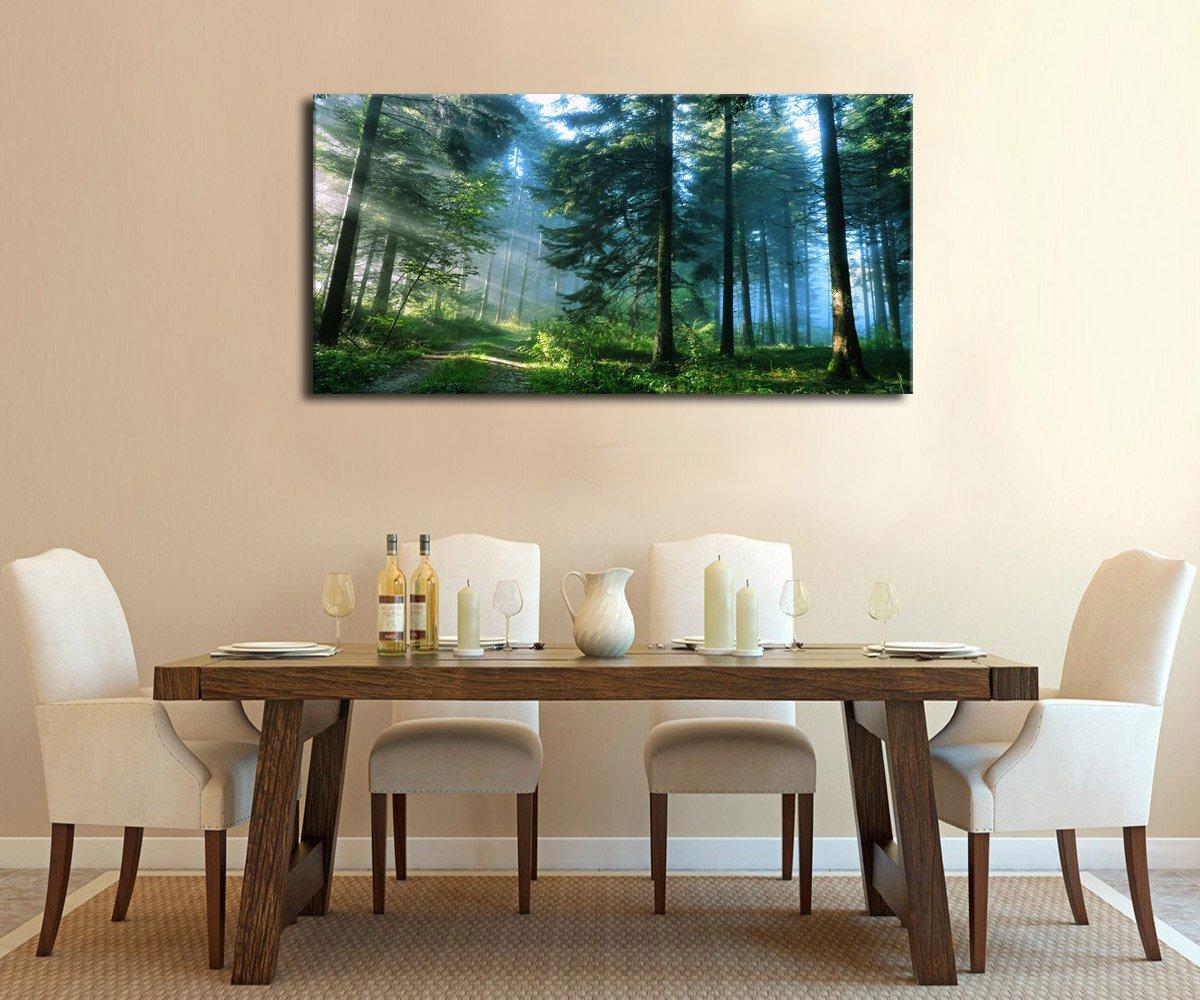 Green Forest Canvas Wall Art Living Room Wall Decor Long ...