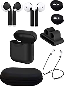 Ultimate AirPod Accessory Pack - AirPod Skins, Charging Case, Straps, Bander, Eartips and Hardshell Case (Matte Black)