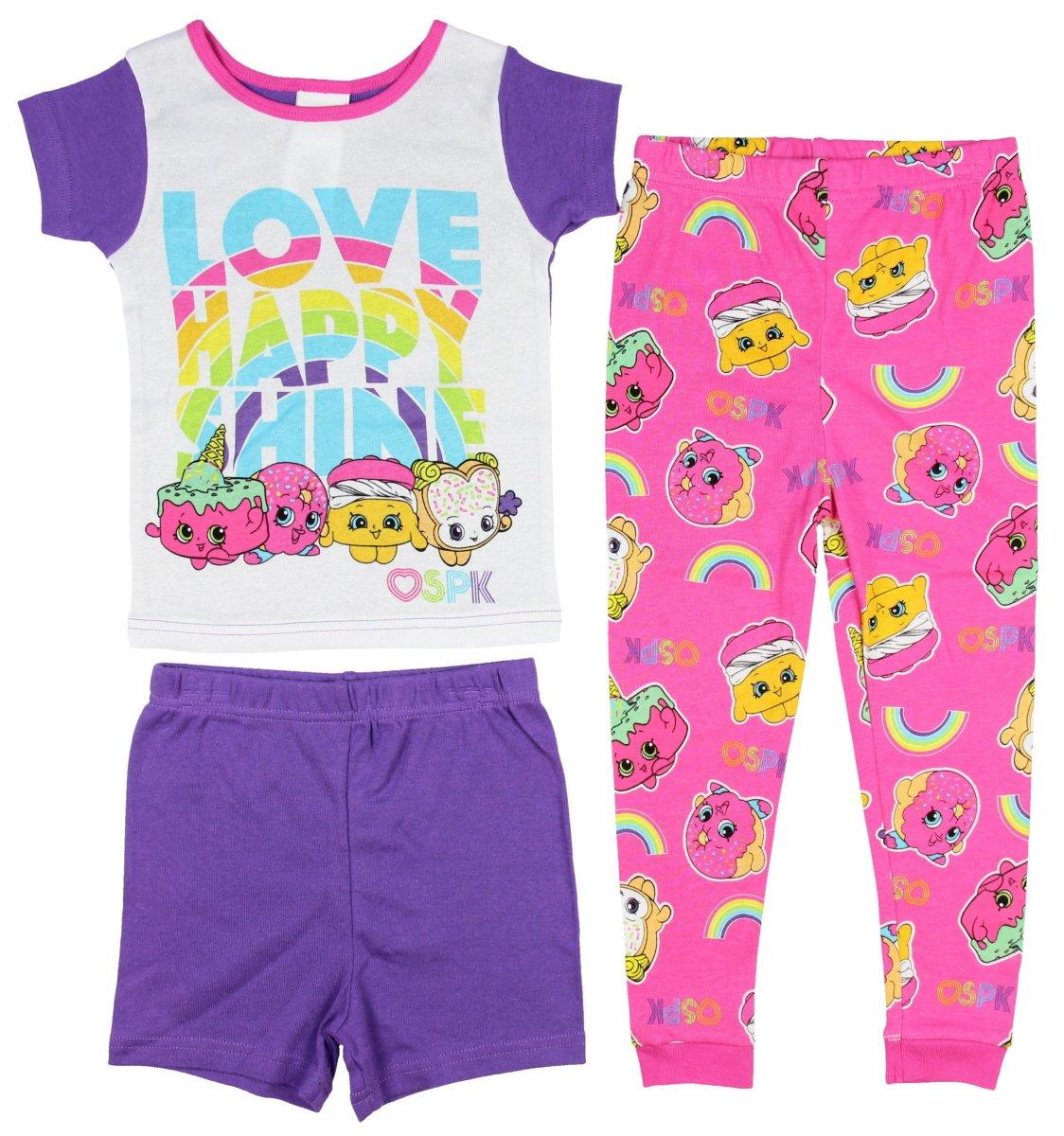 Shopkins 3-Piece Girls Cotton Pajama Set, Love Happy Shine (10)