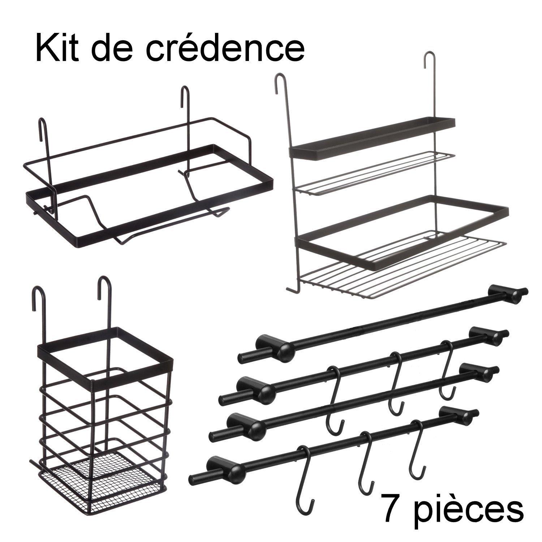 Conjunto de 7 piezas: Kit de accesorios para cocina // 4 barras con ganchos para colgar + 1 estantería doble + 1 porta-utensilios + 1 porta-rollos de papel ...