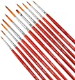 Fine Enamel Detail Brushes Set - 11 Pieces Miniature Paint Brushes for Detailing & Art Painting - Acrylic, Watercolor, Oil - Models, Airplane Kits, Nail Painting