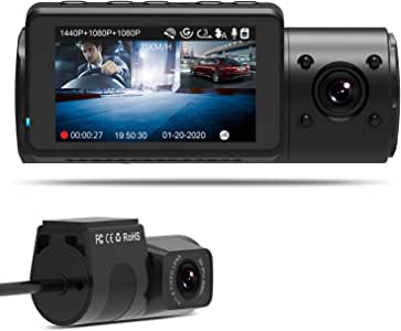 Vantrue N4 Dash Cam 3 Channel 1440P Front & 1080P Inside & 1080P Rear Triple Dash Camera with Infrared Night Vision, Super Capacitor, 24 Hours Parking Mode, Motion Detection, Support 256GB Max