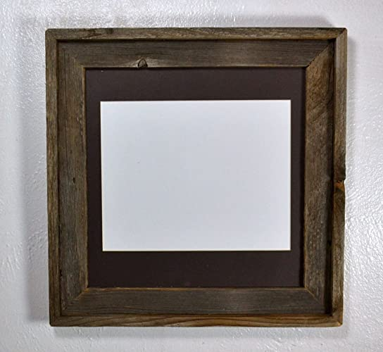 Amazon.com: Rustic Square Picture Frame with 8x10 Charcoal Mat ...