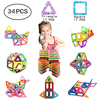 Ehome Magnetic Blocks, 34 PCS Magnetic Building Blocks with Strong Magnet, Magnetic Building Set for Kids Magnetic Tiles Educational Stacking Blocks Boys Girls Toys.