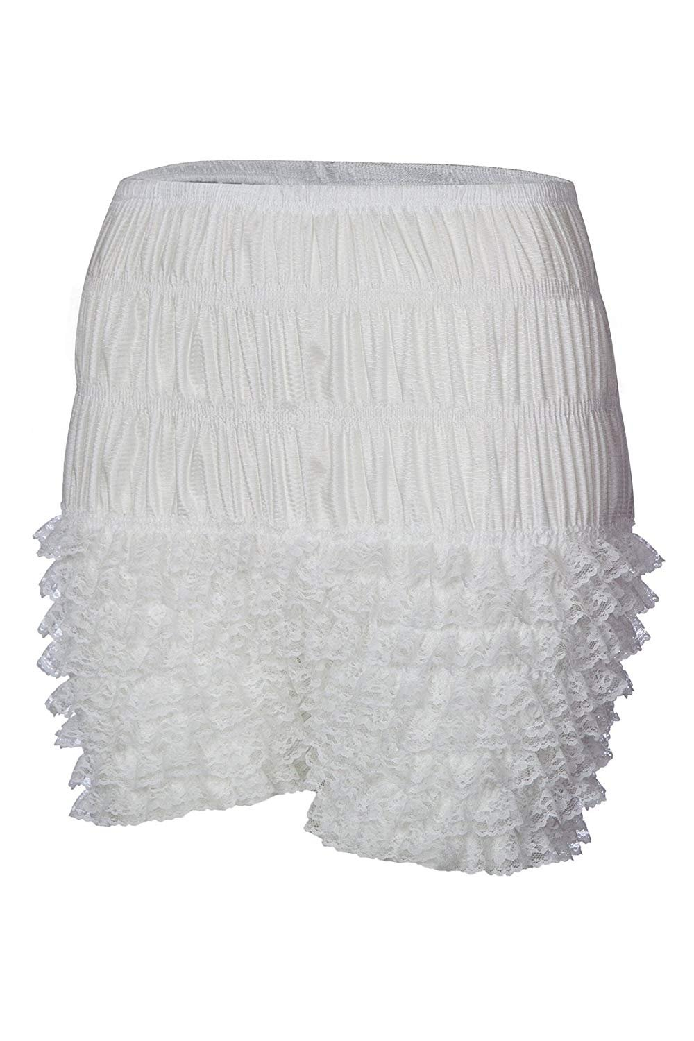 NOVAVOJO Women's Micromesh Lace Ruffle Tanga Shorts Sexy Ruffled Lace Panties Sissy Pettipant Dance Bloomers Frilly Shorts (White, Small)