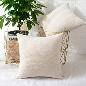 MERNETTE Pack of 2, Chenille Soft Decorative Square Throw Pillow Cover Cushion Covers Pillowcase, Home Decor Decorations for Sofa Couch Bed Chair 20x20 Inch/50x50 cm (Cream)
