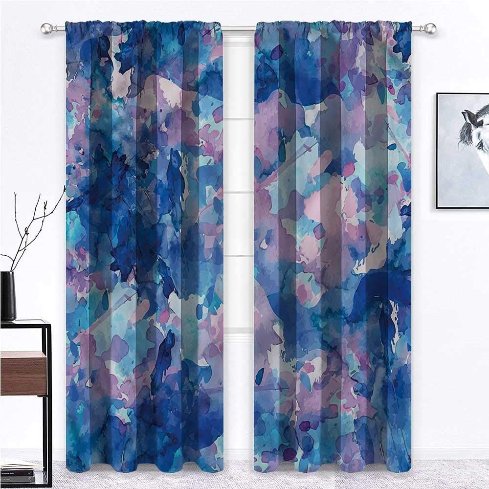 GugeABC French Door Curtains Abstract 2 Rod Pocket Curtain Panels Artistic Expression 84 x 84 Inch (2 Panels)