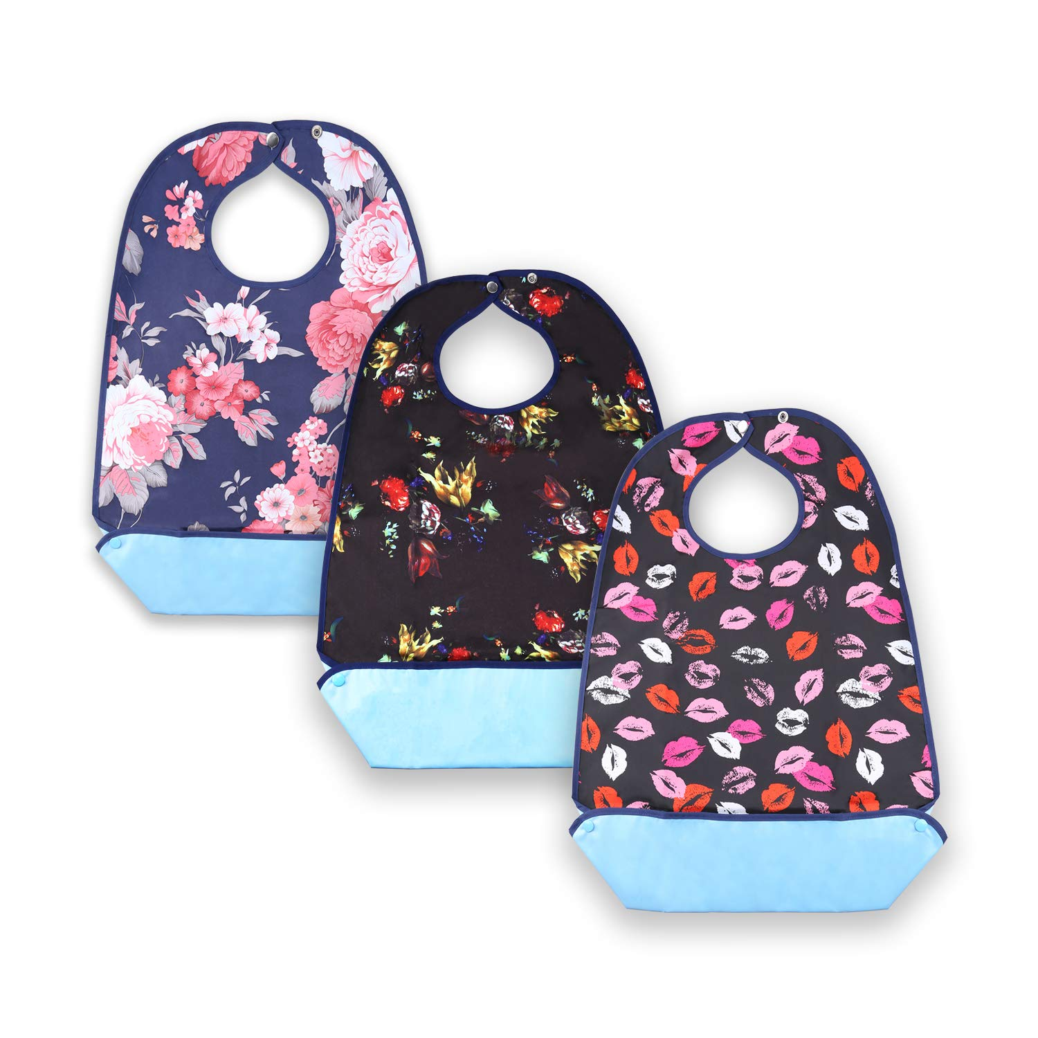 Women's Waterproof Adult Bibs for Eating, Washable Resuable Elder Clothing Protector Set with Vinyl Backing, Large Crumb Catcher and Adjustable Snap Closure (3 Pack)