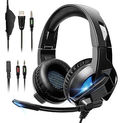 ELEGIANT Auriculares Gaming, Cascos Gaming PS4 con Micrófono Gamer Cancelación de Ruido Sonido Envolvente con Luz Led para PC Xbox One PS3 Xbox 360 Nintendo