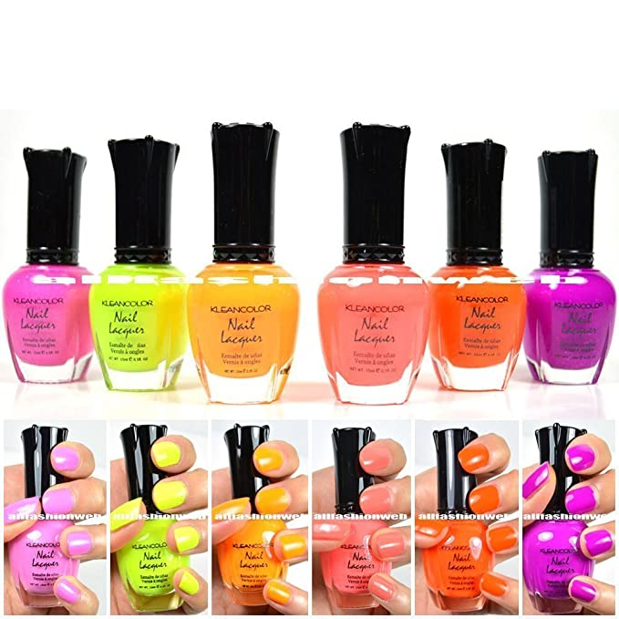 KLEANCOLOR NEON COLORS 12 FULL COLLETION SET NAIL POLISH LACQUER + ...