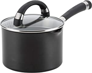 Circulon 82569 Espree Hard Anodized Nonstick Sauce Pan/Saucepan with Straining and Lid, 2 Quart, Black