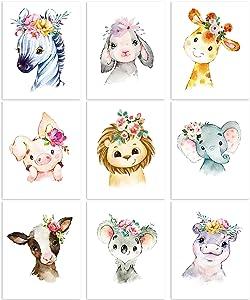 9 Pieces Animal Nursery Wall Art Animal Wall Decoration Nursery Jungle Animal Wall Art Prints for Baby Girl Boy Room Nursery Decor Baby Shower Home Decoration 8 x 10 inch (Unframed)