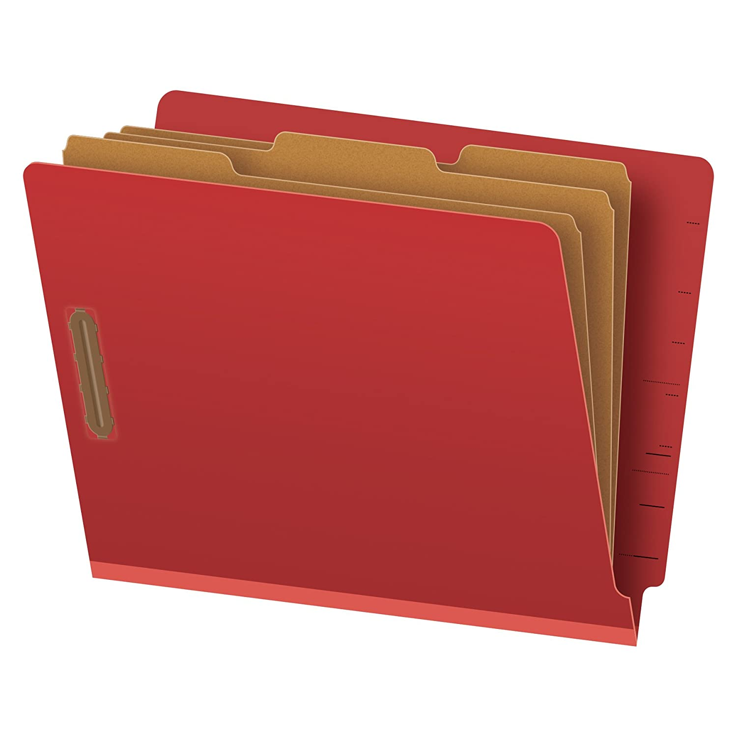 Globe-Weis End Tab Classification Folders, 3 Dividers, 2-Inch Embedded Fasteners, Letter Size, Red, 10 Folders Per Box (23865GW)