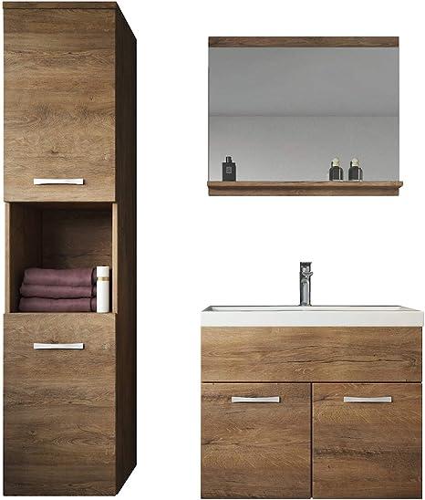 Badmöbel Waschbecken 55 cm Waschtisch Unterschrank Tür Siphon Click Clack Ventil
