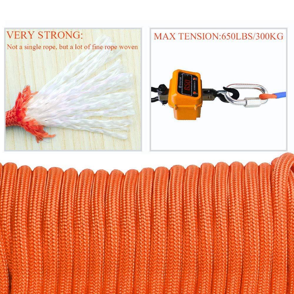 65 Pies Cuerda de Cable de Nyl/óN de Alta Resistencia para Todo Uso Di/áMetro 6 Mm Cuerda Pesada con Cerradura Nrpfell Cuerda de Im/áN de Pesca 20 Metros