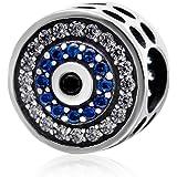 ABAOLA 925 纯银蓝色魅力珠饰适合潘多拉魅力手镯