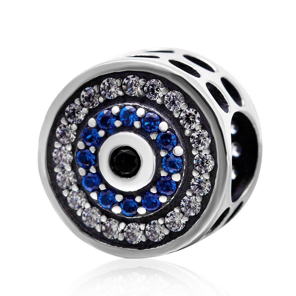 925 Sterling Silver Blue Eye Charm Beads fit on Pandora Charms Bracelets by ABAOLA (Image #1)