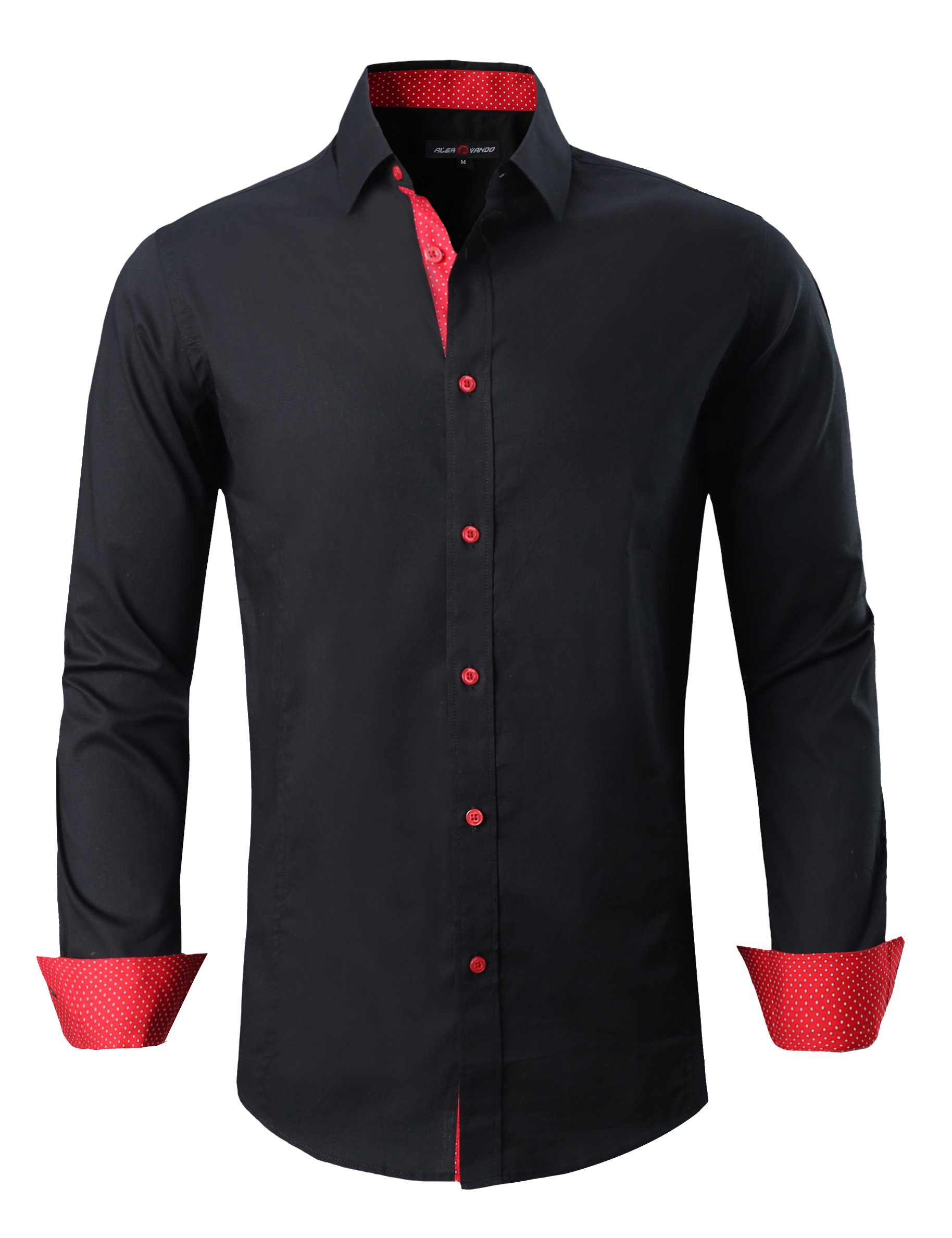 Joey CV Mens Casual Button Down Shirts Long Sleeve Regular Fit(Black,Medium)
