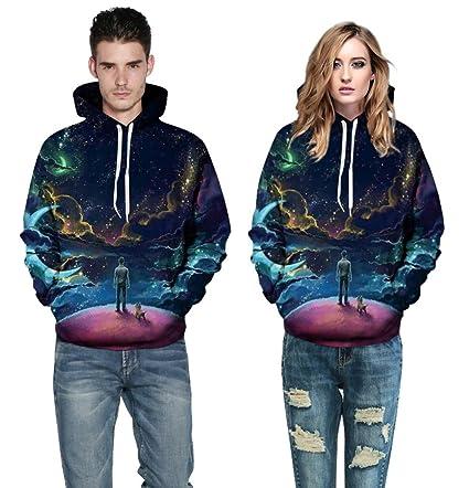 BYWLHNB Espacio Sudaderas Brillante Estilo de Moda Invierno de Hombres y Mujeres al por Mayor suéter