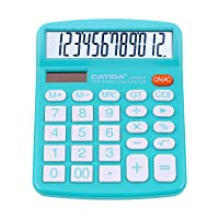 Desktop Calculator 12 Digit with Large LCD Display and Sensitive Button, Solar and Battery Dual Power, Standard Function for Office, Home, School, CD-2786 (Light Blue)