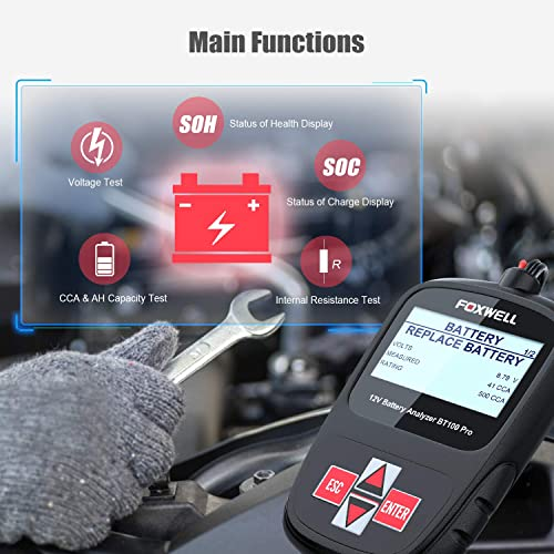 Foxwell BT100 car battery tester is built for technicians and DIY guys who work frequently on different batteries.