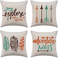 WFLOSUNVE Set of 4 Christmas Winter Throw Pillow Cover, Soft Flannel Decorative Pillow Case Cushion Cover for Couch and Sofa 18x18 Inch Arrow