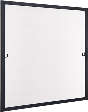 casa.pro ® Fliegengitter Alurahmen 130x150 Braun Insektenschutz Fenster Gitter