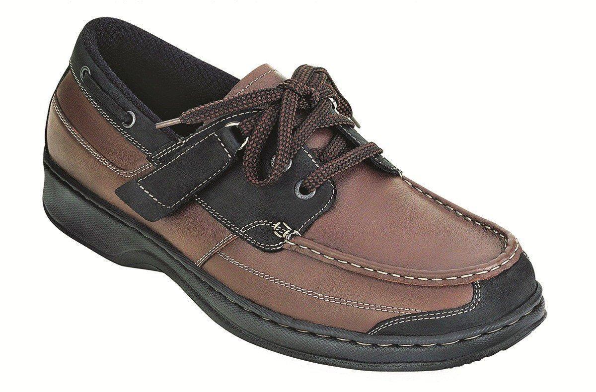 Orthofeet Baton Rouge Comfort Arthritis Orthopedic Mens Diabetic Boat Shoes Brown/Black Leather 10.5 W US