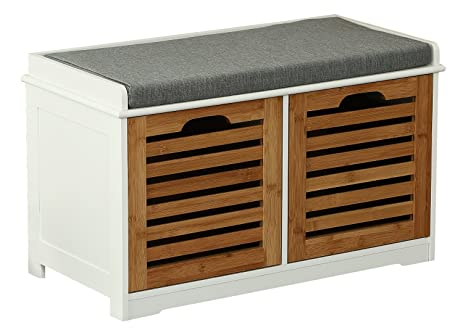 Orolay Storage Bench With 2 Drawers U0026 Seat Cushion Shoe Cabinet ZHXD24  Natural