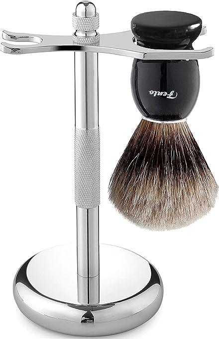Fento Pure Badger Hair Shaving Brush and Chrome Razor Stand Shaving Set Black
