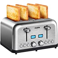 4 Slice Toaster, HOLIFE Stainless Steel Toaster [2 LCD Timer Display] Bagel Toaster (6 Bread Shade Settings, Bagel/Defrost/Reheat/Cancel Function, Wide Slots, Removable Crumb Tray, 1500W, Silver)