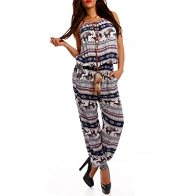 25f7b7e23439f3 Young-Fashion Damen Overall Jumpsuit Elefanten Muster,  Farbe:Royalblau;Größe:XL