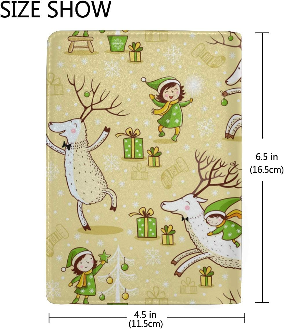 Little Girl Dancing With Christmas Reindeer Leather Passport Holder Cover Case Blocking Travel Wallet