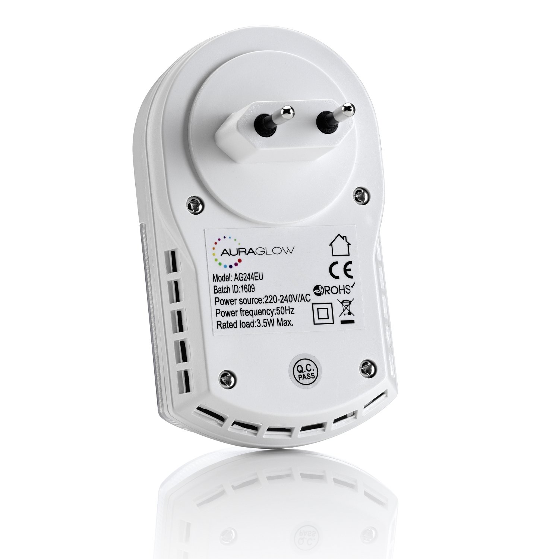Auraglow Euro spina super chiara LED-luce notturna//luce PIR-sensore di movimento con sicurezza zone laiuto
