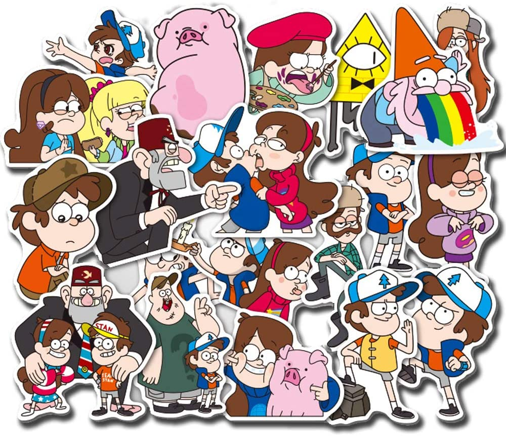 39 Pcs/Pack Gravity Falls Theme Animation Stickers Variety Vinyl Car Sticker Motorcycle Bicycle Luggage Decal Graffiti Patches Skateboard Stickers for Laptop Stickers for Kid