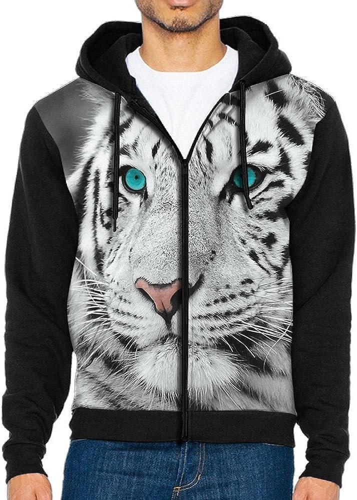Futong Huaxia White Tiger Funny Men Zipper Hoodie Sweatshirt Sportswear Jackets With Pockets Black