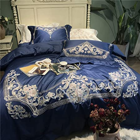 HIUGHJ Courtepointe Rose Bleu De Royal Embroidery 60S Coton /Égyptien///Ensemble De Literie Housse De Couette Ensemble De Literie 79 x 9 Draps//Taies DoreillerLivraison gratuite200 x 230cm