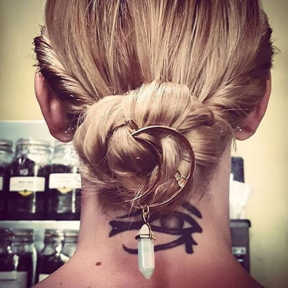 2# Voir Image vap26 Barrettes /à Cheveux en Forme de Croissant de Lune hexagonale en Pierre Naturelle pour Femme
