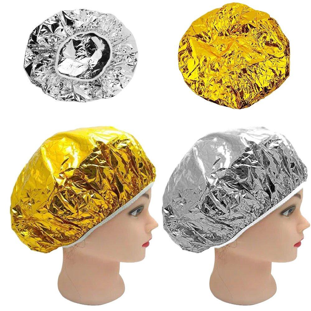 1Pcs Disposable Aluminum Foil Shower Caps Waterproof Bath Cap beauty salon accessories (silver)